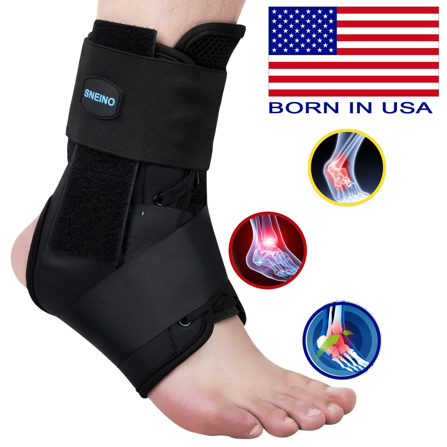 SNEINO Ankle Brace,Lace Up Ankle Brace for Women,Ankle Brace for Sprained Ankle,Ankle Supports for Women,Kids,Ankle Braces for Basketball,Volleyball Ankle Braces,Ankle Stabilizer for Women(Large)