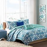 Intelligent Design Lionna 5 Piece Coverlet Set, Blue, Full/Queen