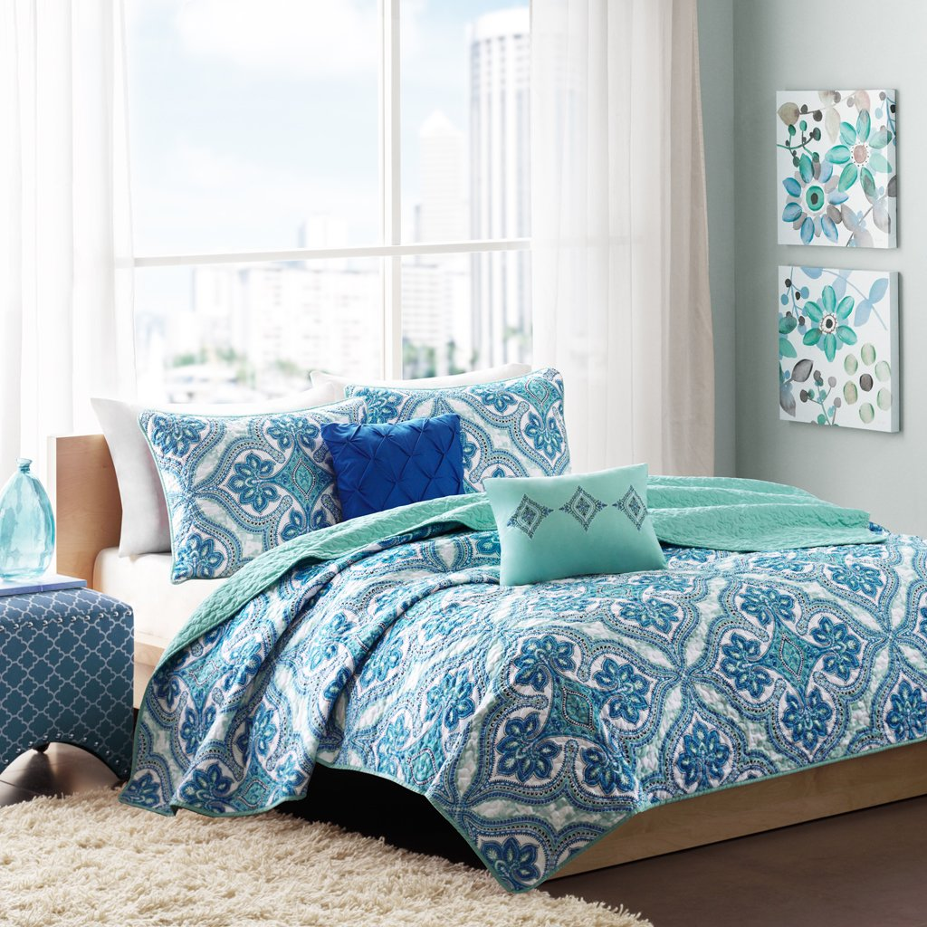 multi style detail and cushion quilt beach bedding bedspreads drop color green bedroom size set with microfiber lime pieces blue decor turquoise skirt bed