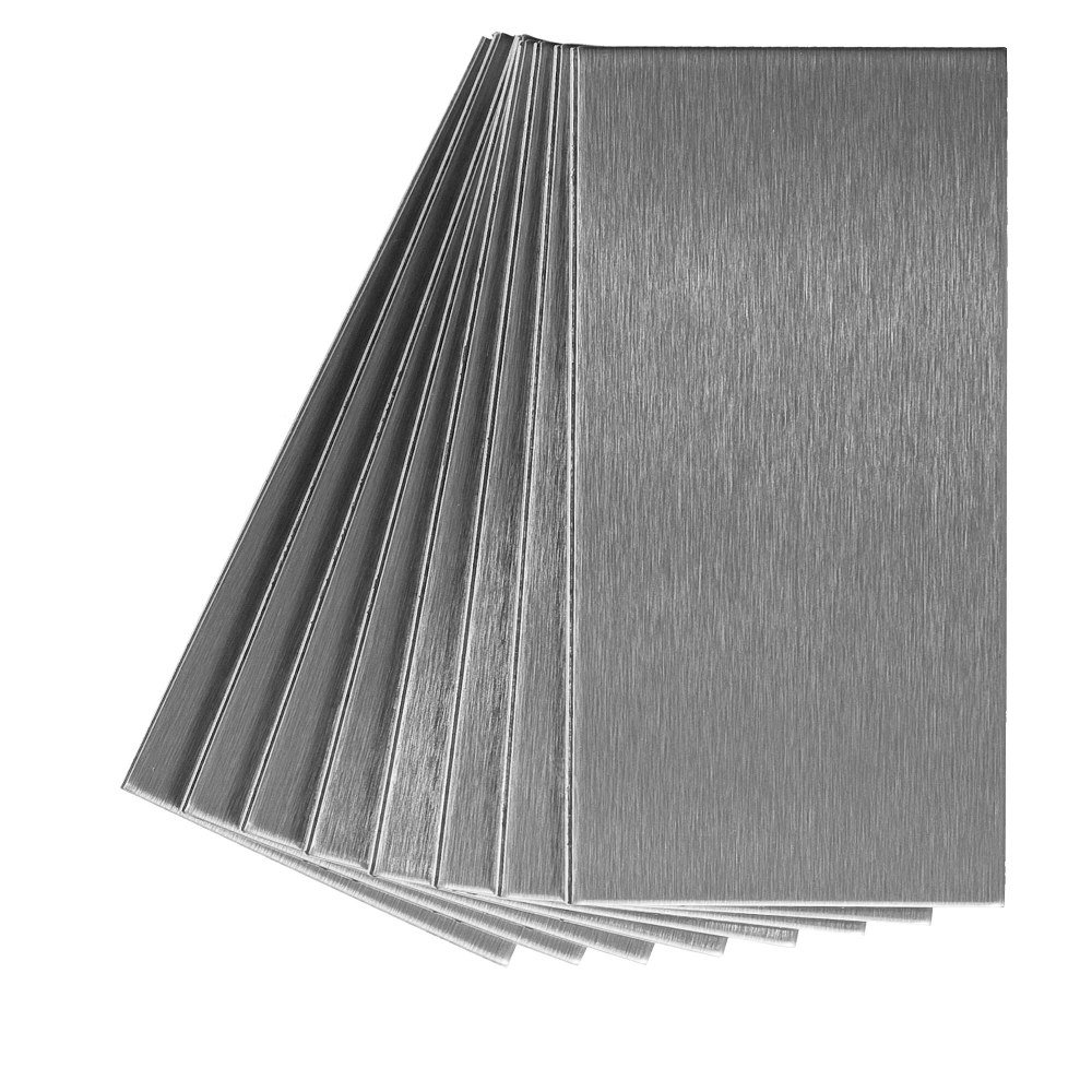 Aspect Peel and Stick Backsplash 3in x 6in Brushed Stainless Long Grain Metal Tile for Kitchen and Bathrooms (8-pack)