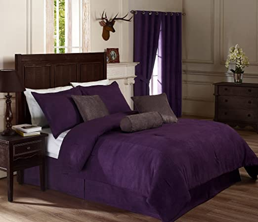 Chezmoi Collection 7-pc Hotel Solid Dobby Stripe Comforter Set Cal King Purple
