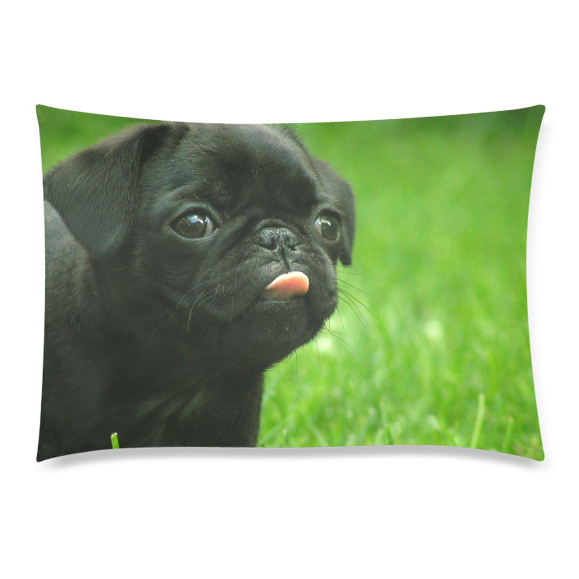 InterestPrint Custom Black Funny Pug Dog Rectangle Pillowcase Standard Size 20''x30'' Twin Sides, Lovely Animal Puppy Dog Pillow Case Cover Decorative