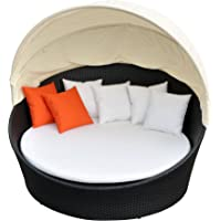 Prime Source Wicker/Aluminum Frame Round Sunbed with Shade and Orange Throw Pillows