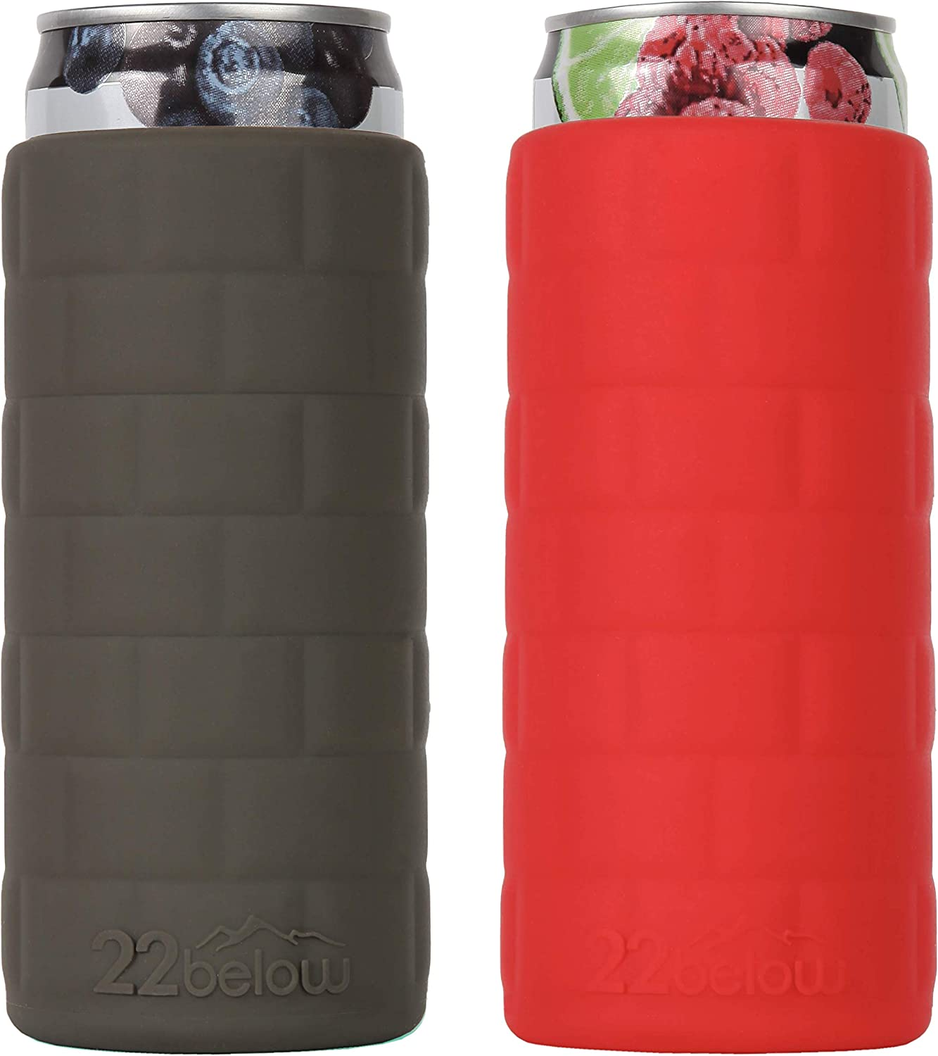 22below - Slim Can Flexible Soft Touch Silicone Cooler Two Pack - Olive Green & Red