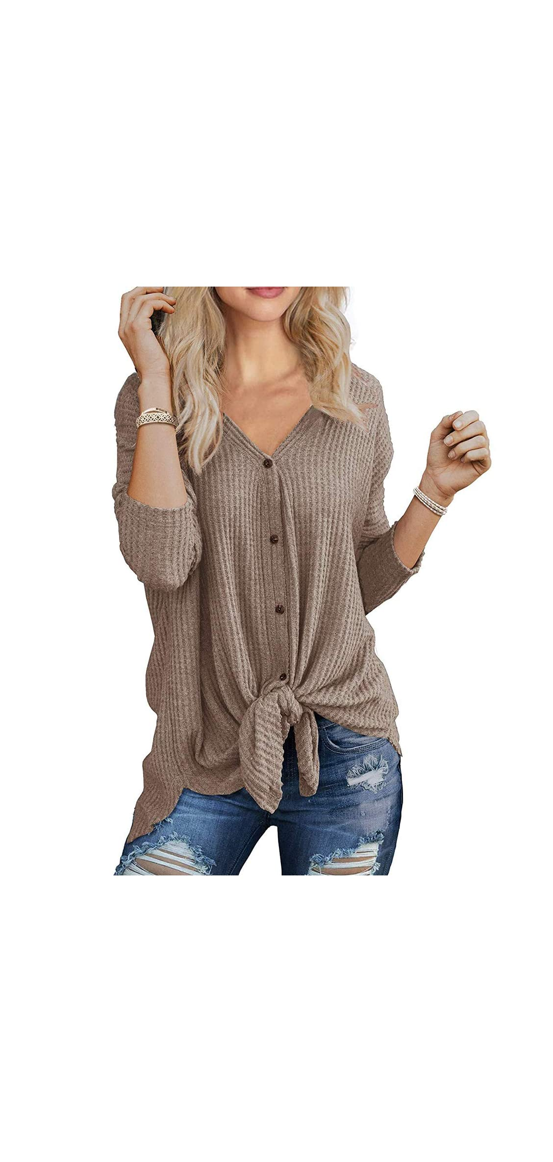 Womens Waffle Knit Tunic Blouse Tie Knot Henley Tops Bat