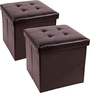 REDCAMP 15x15x15 Inches Cube Ottoman Set of 2, Sturdy Folding Small Ottoman Foot Rest with Storage, Great for Bedroom Dorm Living Room, Brown PU