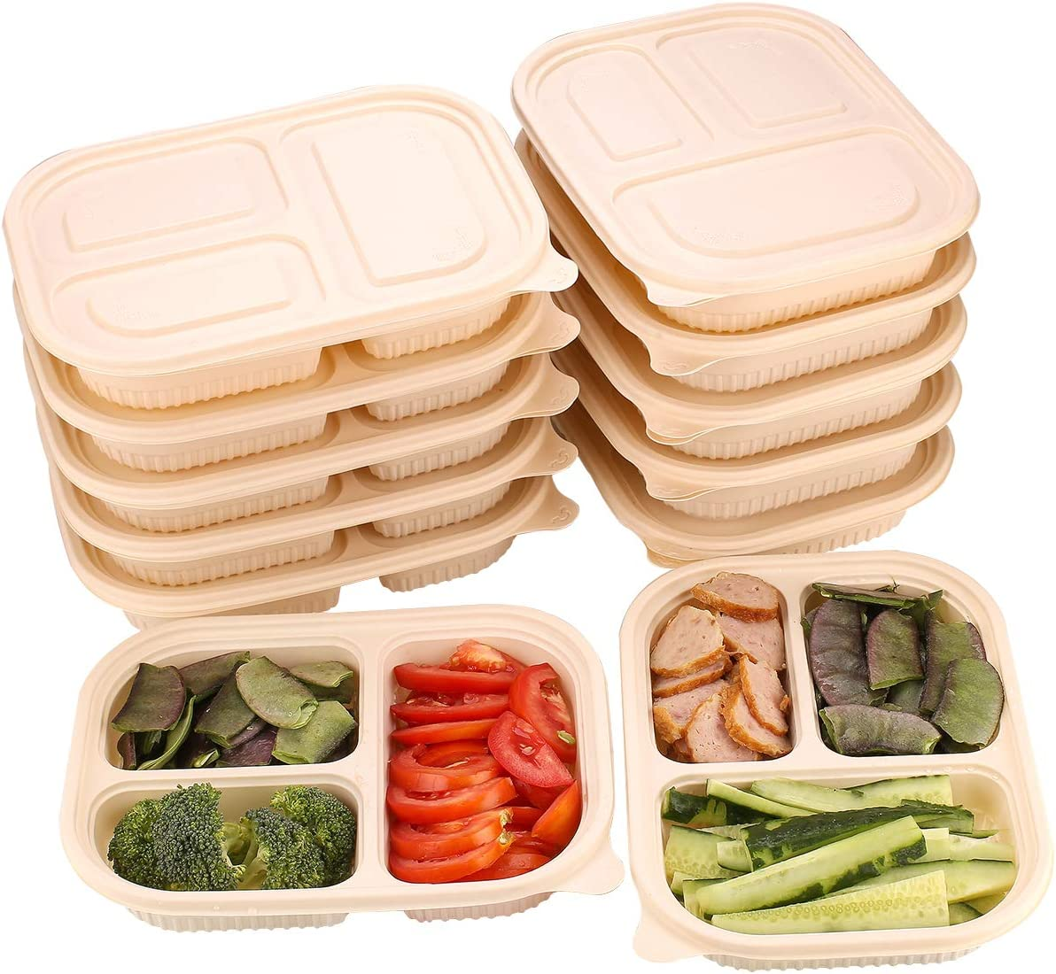 MONICA Eco-friendly Meal Prep Containers 3 Compartment 10Pack Biodegradable Disposable Cornstarch Lunch Box 33oz Heavy Duty Contianer To Go Container,Leak-Proof,Microwaveable Freezer,beige