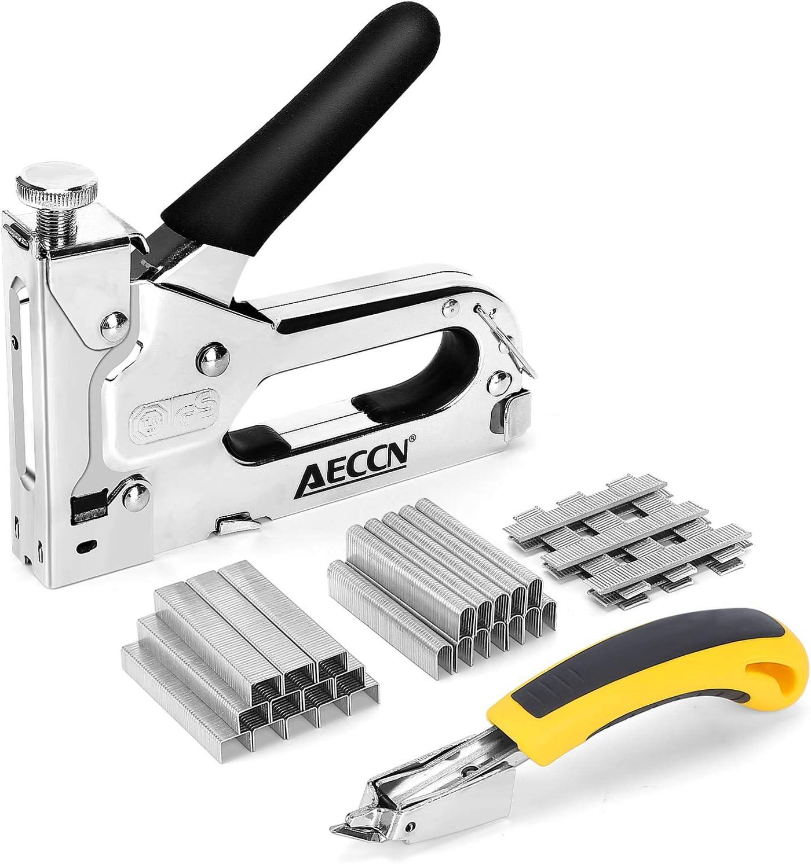 AECCN Grapadora Manual 3 en 1 con 2100 Grapas - Grapadora para Uso Serie (Incluye Extractor Grapas) para tapicería, material de fijación, decoración, carpintería, muebles, Madera