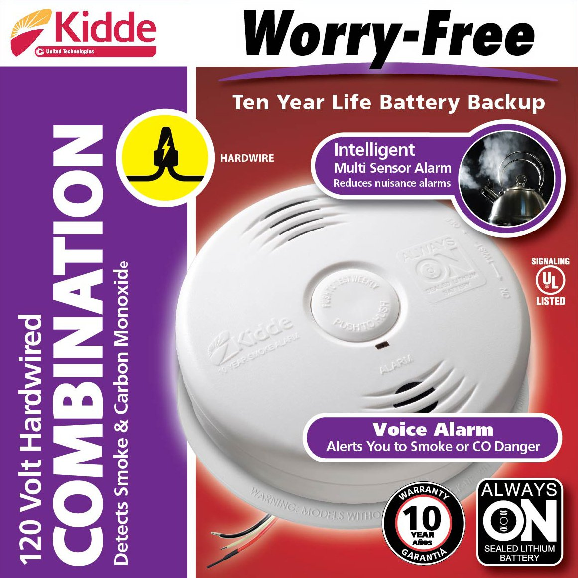 Worry-Free Hardwired Smoke & Carbon Monoxide Alarm with Lithium Battery Backup I12010SCO by Kidde (Image #6)