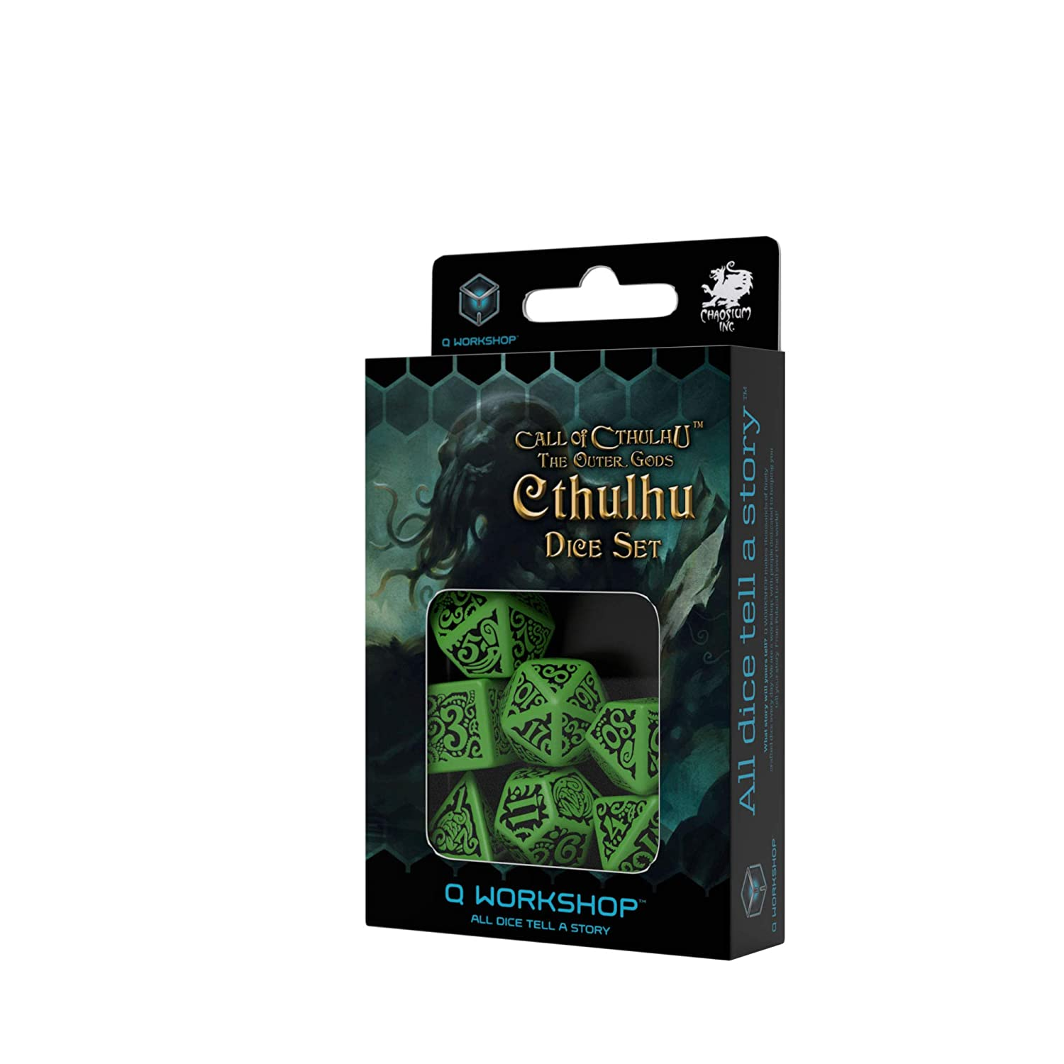Q WORKSHOP Call of Cthulhu The Outer Gods Cthulhu RPG Ornamented Dice Set 7 Polyhedral Pieces