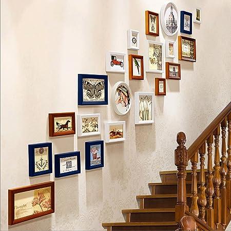 Marcos de Fotos Escalera Foto Pared Sala de Estar Dormitorio Entrada Sofá Pared 22 Cuadro Combinación (Color : 2#): Amazon.es: Hogar
