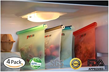 Bolsas de silicona reutilizables sin BPA hermético para almacenamiento de alimentos con aislamiento ecológico, contenedores