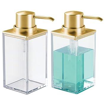 mDesign Dosificador de jabón rectangular y recargable con 296 ml de capacidad – Dispensador de jabón
