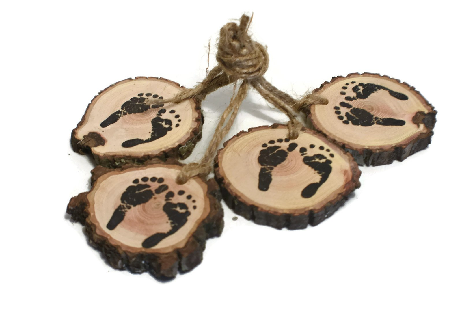 Woodland baby shower decorations, Tiny Baby Feet prints, Rustic real wood, foot prints