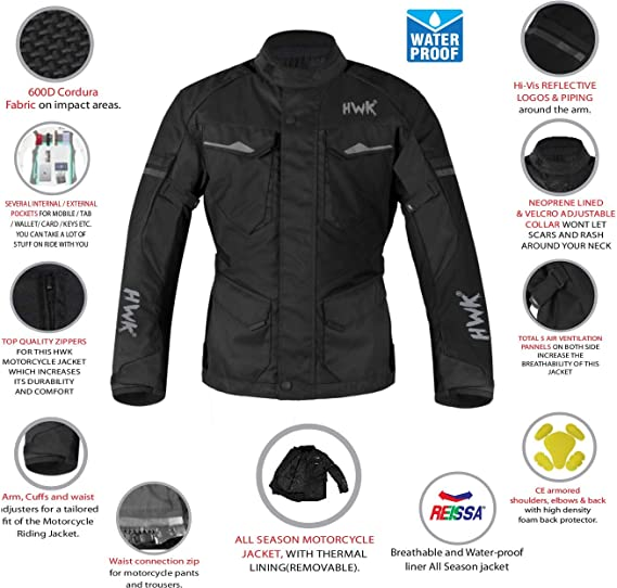 "Exclusive Design Motorcycle Multi-Functional Features Black Color Motorbike Mens Jacket Textile Armoured 38/"" - 40/"" S"