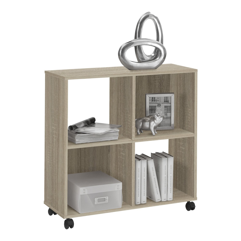 LHS OFFICE STORAGE QUAD: 4 Compartment Mobile Pedestal Shelving File Storage Unit/Bookcase in Oak DMF