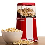 4YourHome 1200W Red & White 1950's Retro Style Hot Air Popcorn Maker for Fresh, Healthier & Fat-Free Popcorn, No Oil Required!