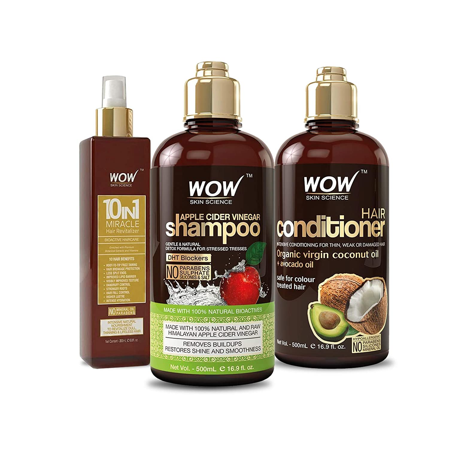 WOW Apple Cider Vinegar Shampoo & Coconut Avocado Conditioner 500ml and Leave In Conditioner Spray 200ml - Detox Clarifying Cleanser Hair Care Set For Oily Scalp - All Hair Types, Including Curly