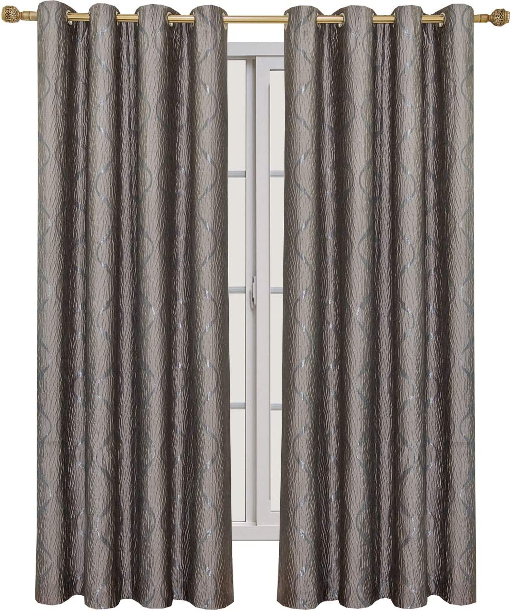 Royal Tradition Laguna 104-Inch Wide x 108-Inch Long, Jacquard Set of 2 Grommet Top Curtains, Taupe