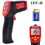 AIDBUCKS A530 Entry-Level Non-Contact Digital Infrared Thermometer Temperature Gun -26°F to 986°F (-32°C ~ 530°C) Laser Aim Support Adjustable Emissivity Indoor Outdoor Use - Black Red