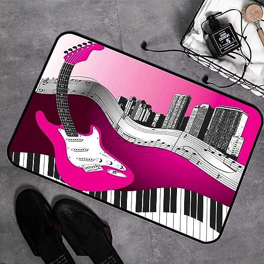 Alfombras de Baño Espuma de Memoria,Música, Bajo Guitarra Teclado Urban Rock Telón de fondo Ritmo de i,Alfombrilla de Baño Antideslizante Alfombrilla bañera Absorbente Suave Alfombra de Baño,45 x 75cm: Amazon.es: Hogar