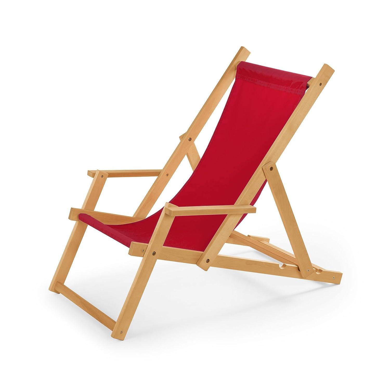 Chaise Longue De Jardin En Bois Transat Relax Plage Avec Accoudoirs Rot