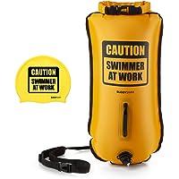 BUDDYSWIM Boya de Seguridad para Natación en Aguas Abiertas de 28 litros. Incluye Gorro de Silicona a Juego.