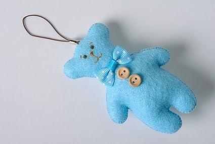 Llavero de peluche osito de fieltro para bolso azul artesanal
