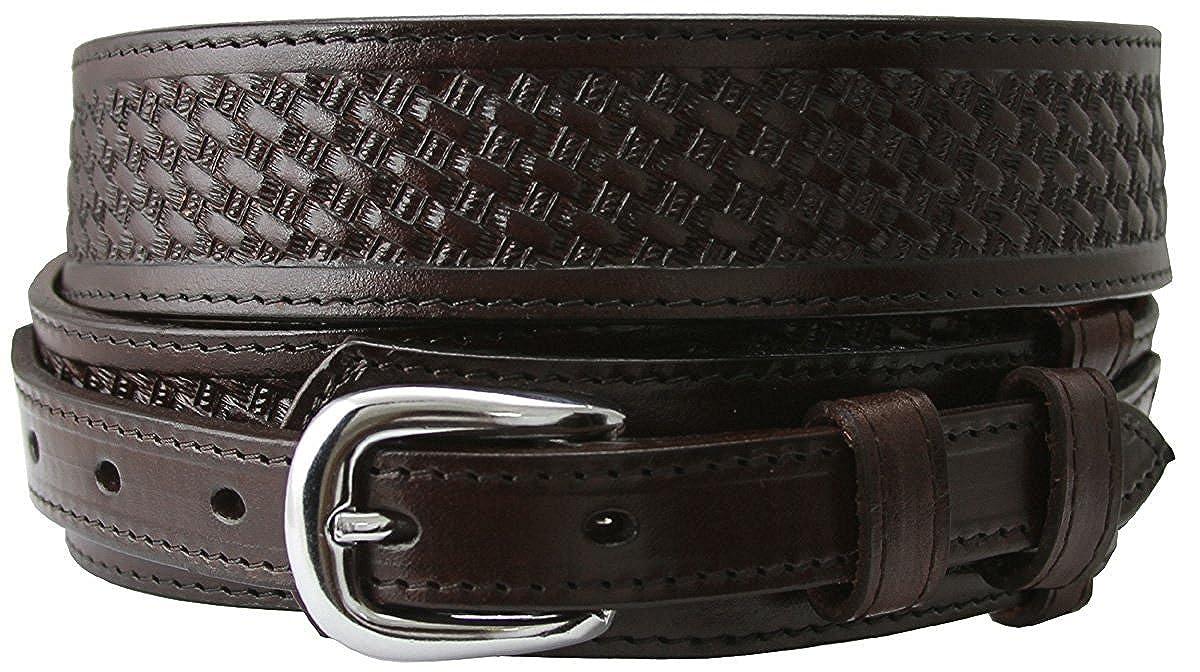 Hagora Men Basket Motif Stitch Detail Removable Buckle 1-3//8 Wide Leather Belt