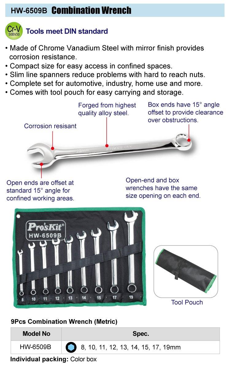 ProsKit HW-6509B Wrench Set 9 Pieces Combination Metric Chrome Vanadium Steel