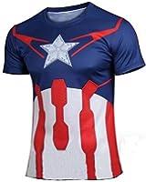 AmonKui Avengers Flash Man Hulk t Shirt Men Short Sleeve Jersey Super Hero Clothing T-