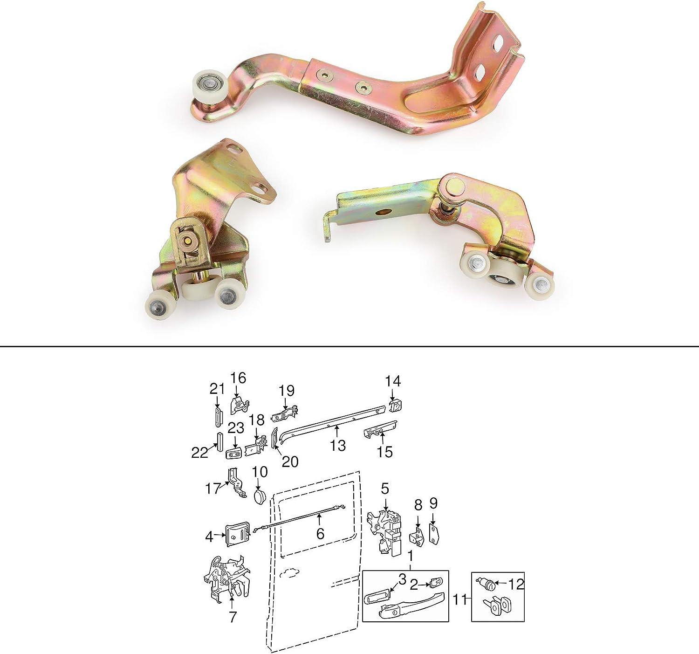 Upper Sliding Door Roller Kit For Mercedes-Benz 3PCS Right Lower Middle
