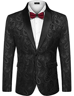 92f7b0a403 COOFADNY Mens Floral Tuxedo Jacket Paisley Embroidered Suit Blazer Jacket  for Dinner,Party,Wedding