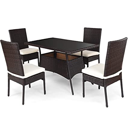 Amazon.com : Brown 5Pcs Patio Rattan Tempered Glass Table ...