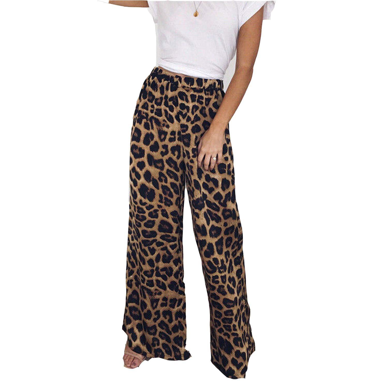 ZFADDS High Waist Leopard Print Loose Women Pants Comfort Flare Wide Leg Long Animal Girls Pants