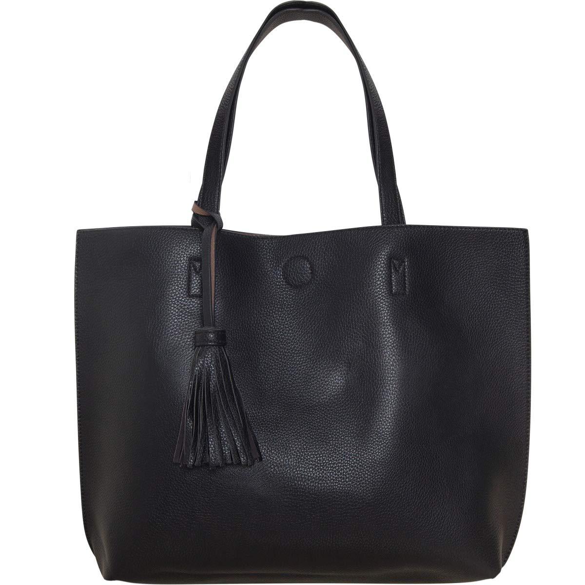 3a8341f352dd Amazon.com  Humble Chic Large Vegan Leather Tote Bag Reversible Shoulder  Handbag Tassel Purse