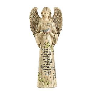 Ivy Home Standing Angel with Bird Garden Statuary