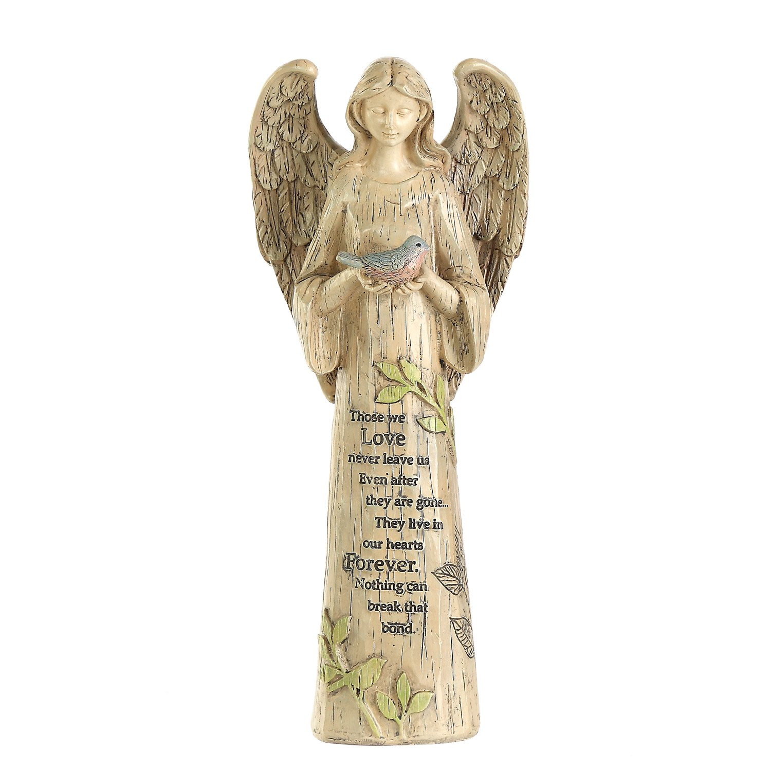Ivy Home Standing Angel with Bird Garden Statuary