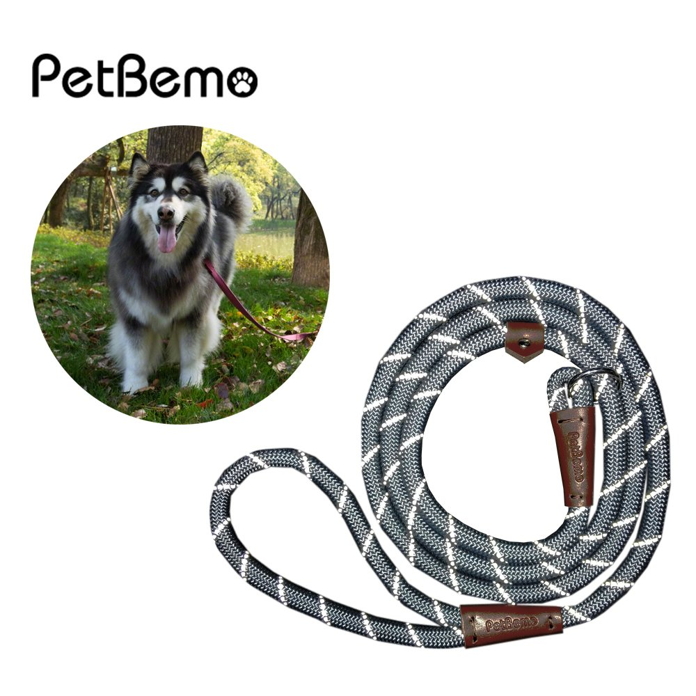 Reflective Slip Rope Leash- Petbemo Retractable Dog Leash 6 FT Heavy Duty Training Leash for Large and Medium Pet Mountain Climbing Dog Rope for Safety Night Walking, Grey