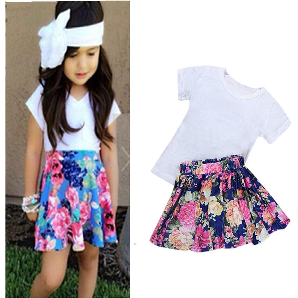 Franterd Baby Girls T-shirt+Floral Short Skirt+Headband Toddler Kids Outfit Clothes Set
