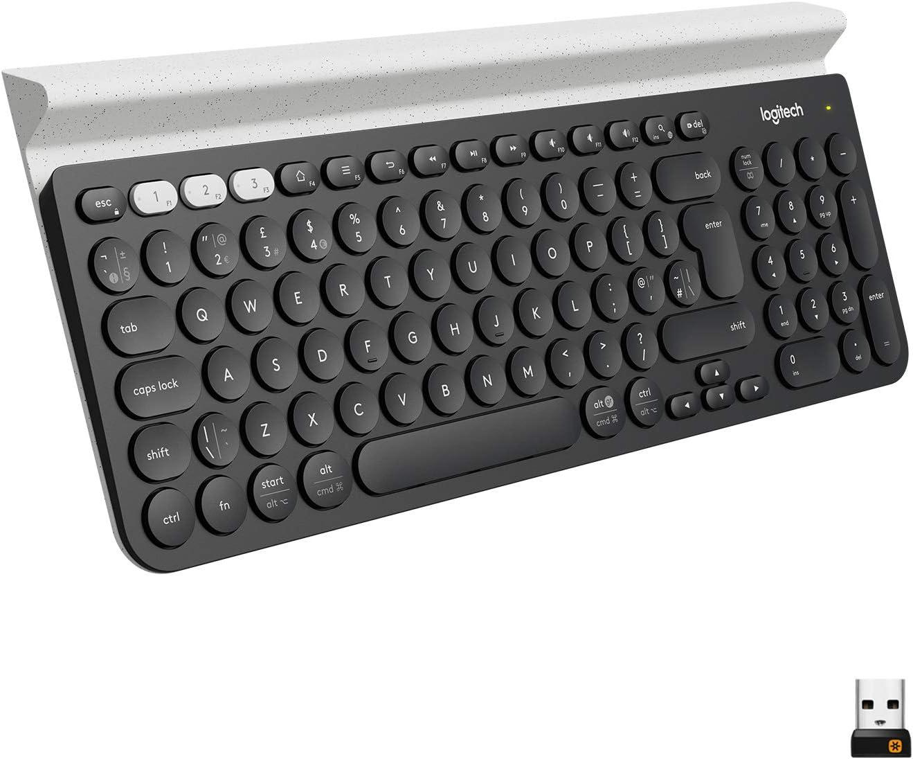 Logitech K780 Teclado Inalámbrico Multi-Dispositivos para Windows, Disposición QWERTY Inglés Reino Unido, Gris