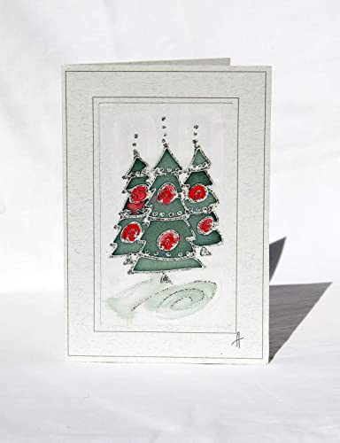 sale 15 offchristmas tree cardhand painted silk christmas - Christmas Card Sale