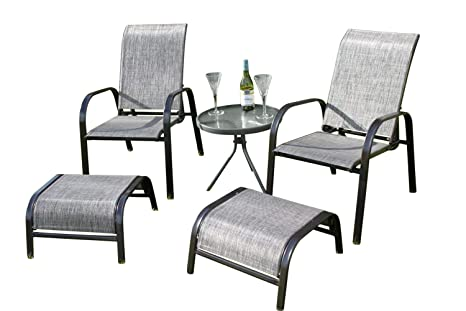 Prime Olive Grove Set Of 2 Reclining Garden Chairs With 2 Foot Stools And A Side Table Grey Weatherproof Textoline Creativecarmelina Interior Chair Design Creativecarmelinacom