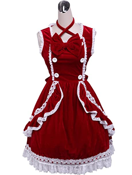 antaina Vestido de Cosplay de Lolita de Victoriana de encaje con volantes de encaje roja Bowknot