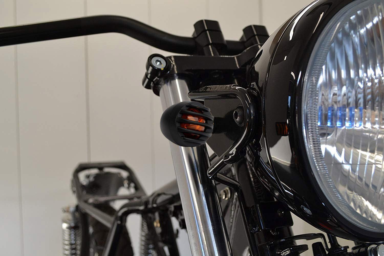 2/Paar individuell Schwarz League/&Co Universal-Blinklichter f/ür Motorrad aus Metall