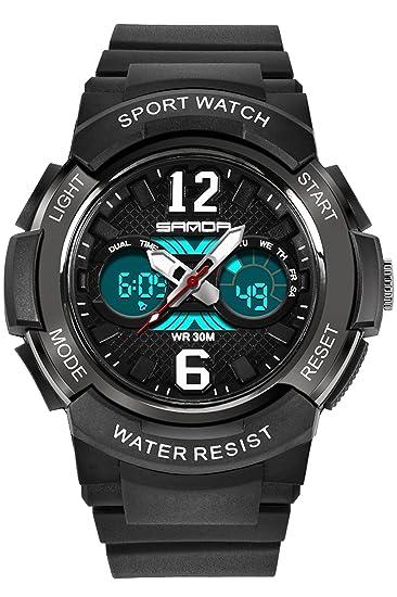 Sanda niños reloj Digital para niños deporte al aire libre analógico alarma niños niñas LED electrónica relojes de pulsera Negro: Amazon.es: Relojes