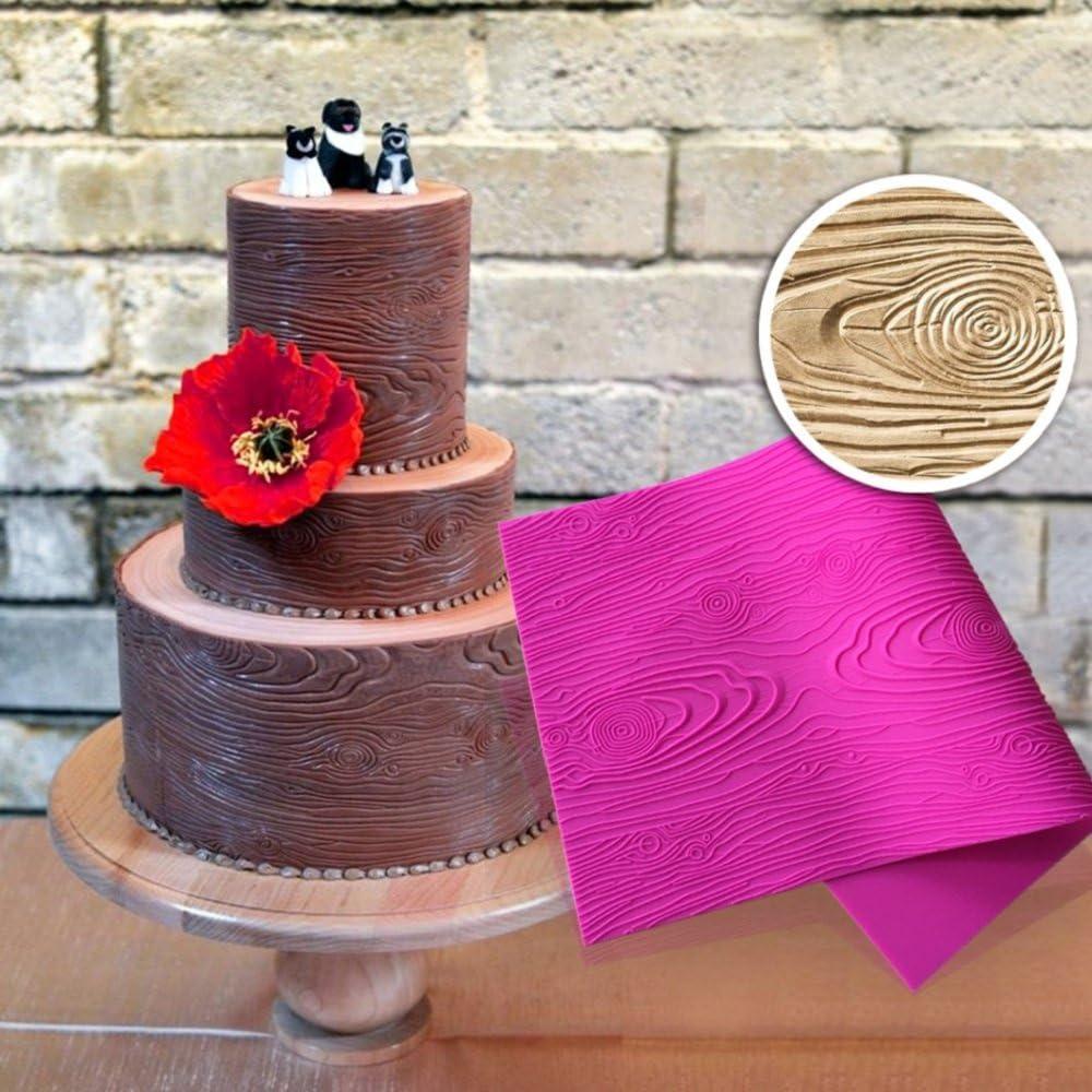 2X Brick Wall Wood Grain Impression Mat Cake Embosser Fondant Icing Mould Mold