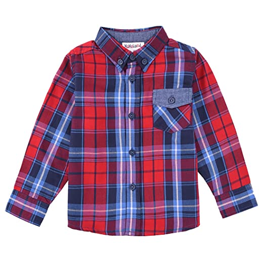 80554a3a9 Amazon.com: MOMOLAND Baby Toddler Boys Long Sleeve Plaid Button Down ...