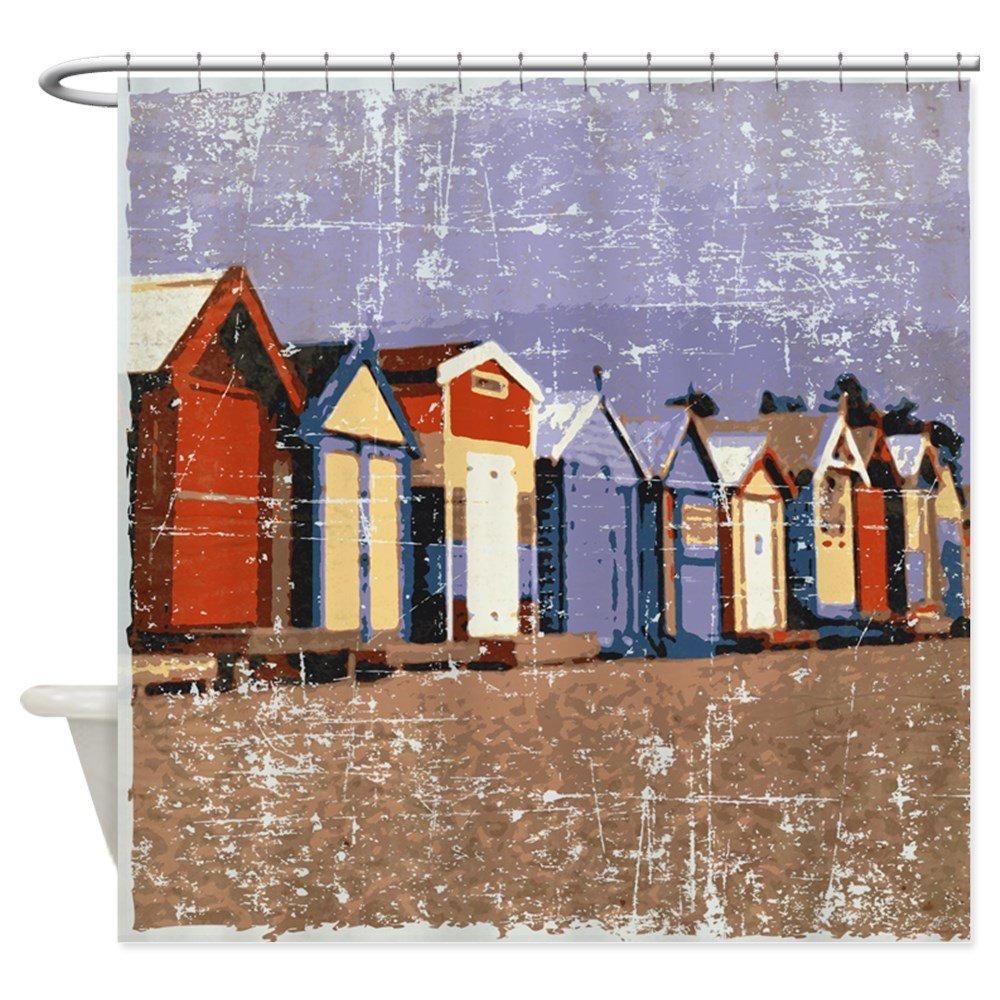 Cabañas de CafePress - diseño de casetas de playa cortina de ducha diseño de lunares cortina de ducha de tela: Amazon.es: Hogar
