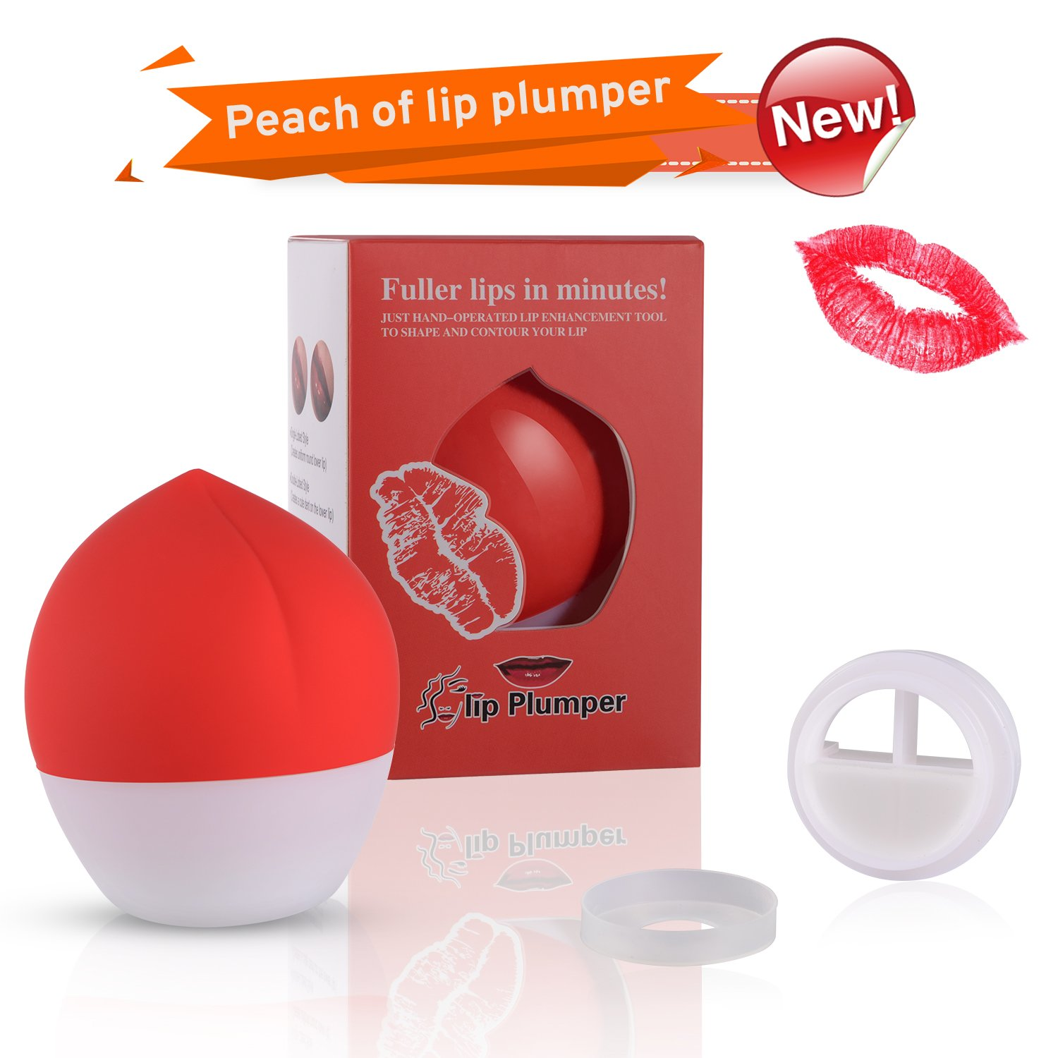 Lip Plumpers Tool Lips Care Enhancer Fuller Thicker Mouth Pumps Fastly Lip Plumping Bigger Device Peach